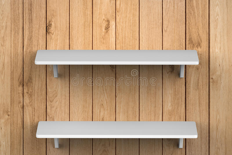 White shelves on wall royalty free stock image