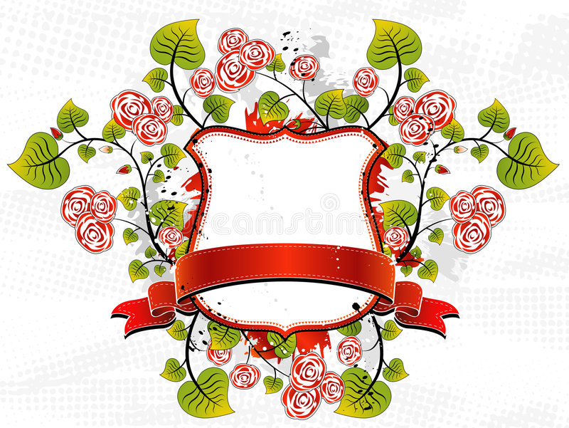 White shield and roses, vector vector illustration