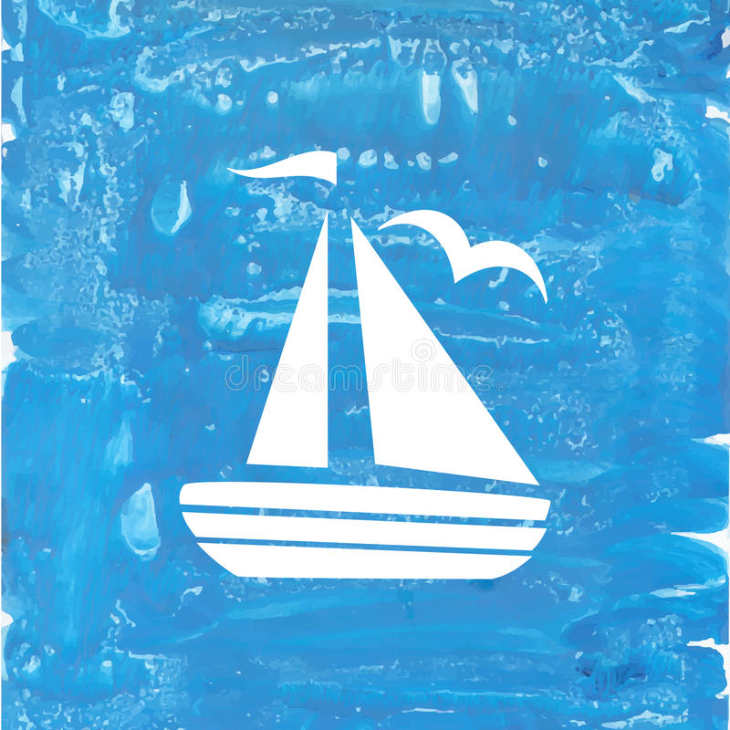 White ship on a blue handpainting background stock photography