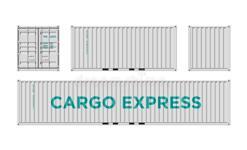 White Shipping Cargo Container for Logistics and Transportation Isolated On White Background Vector Illustration Easy To Change royalty free illustration