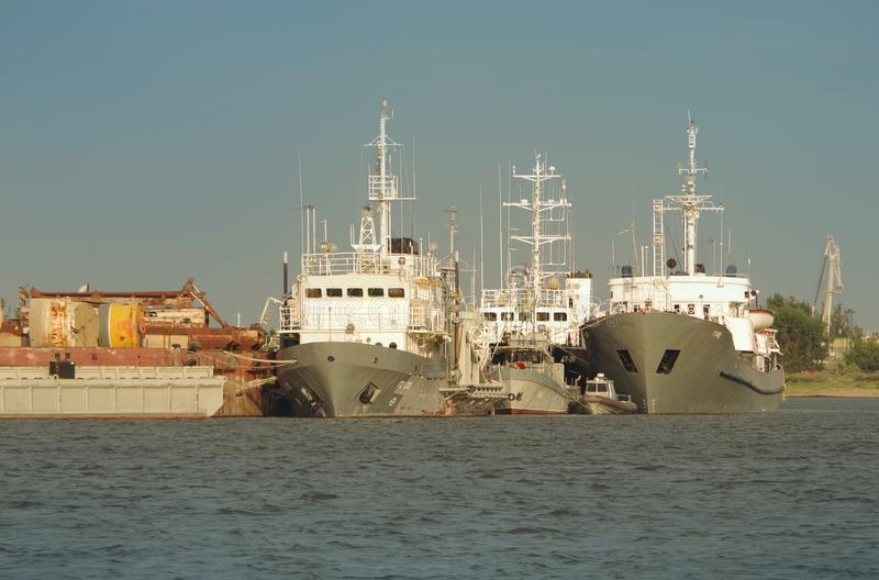 White ships in Astrakhan. royalty free stock photos