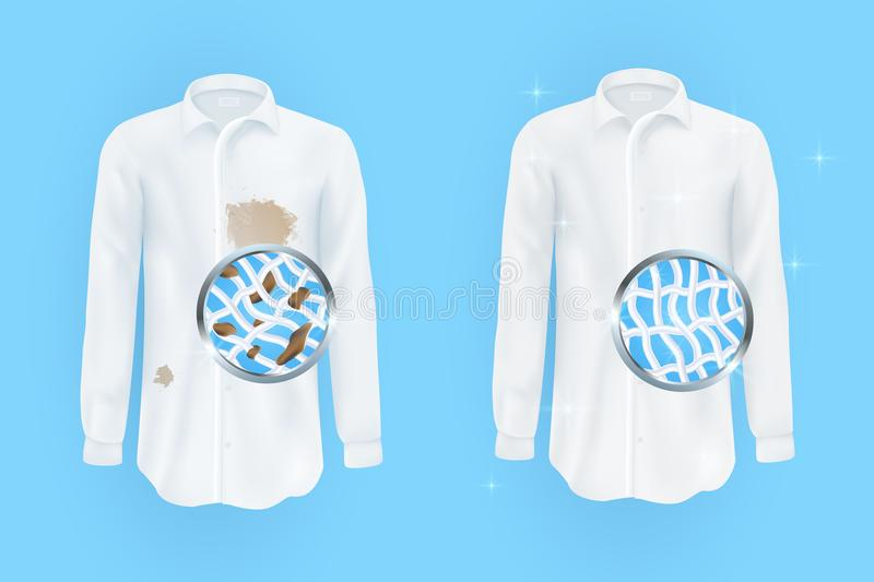 White shirt with dirty brown spots and clean on blue background. Set of vector illustrations of a white shirt with dirty brown spots and clean , wrinkled and royalty free illustration