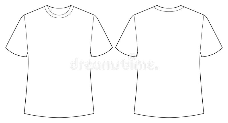 White shirt. Short sleeves white shirt back and front view vector illustration