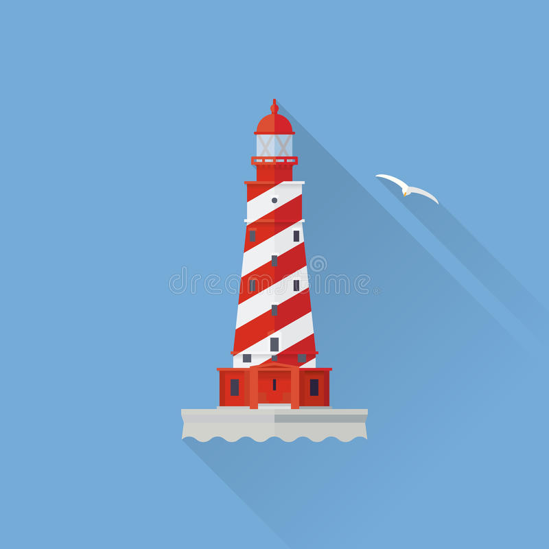 White Shoal Lighthouse Flat design long shadow icon royalty free illustration