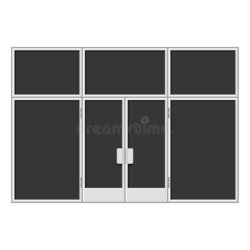 White Shopfront with Large Black Blank Windows. Vector. Illustration stock illustration