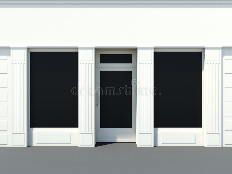 White shopfront in the sun. Small white shopfront in the sun whit door and windows stock illustration