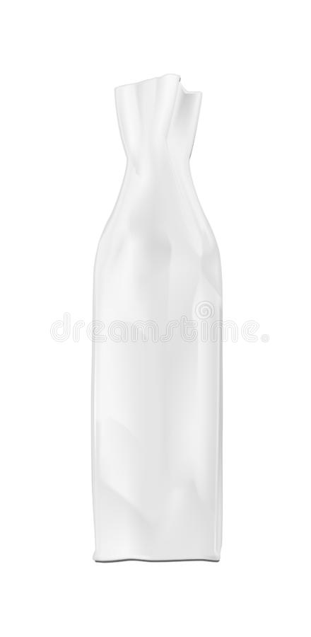 White shopping paper bag. Packaging for bottle and other products.  vector illustration