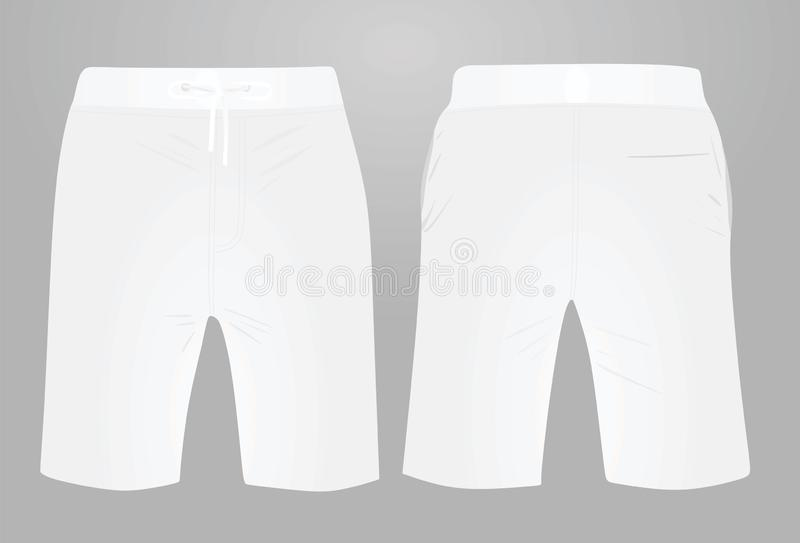 White shorts, front and back view. Vector illustration royalty free illustration