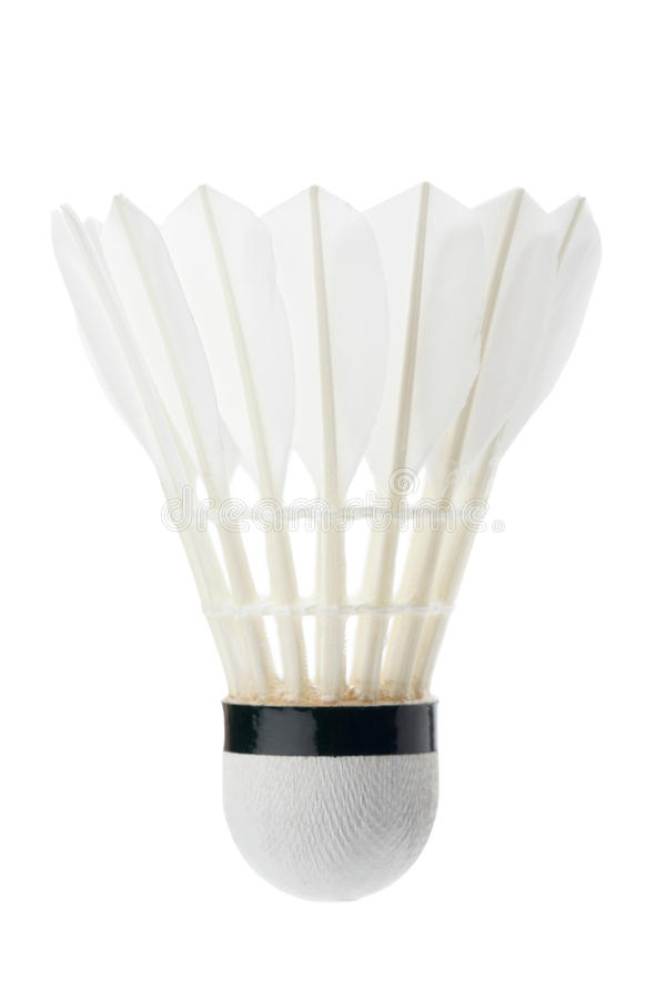 White shuttlecock. Isolate on white background with clipping path royalty free stock photography