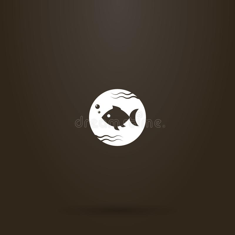 Vector round negative space round sign of fish swimming in water. White sign on a black background. simple vector round negative space round sign of fish royalty free illustration