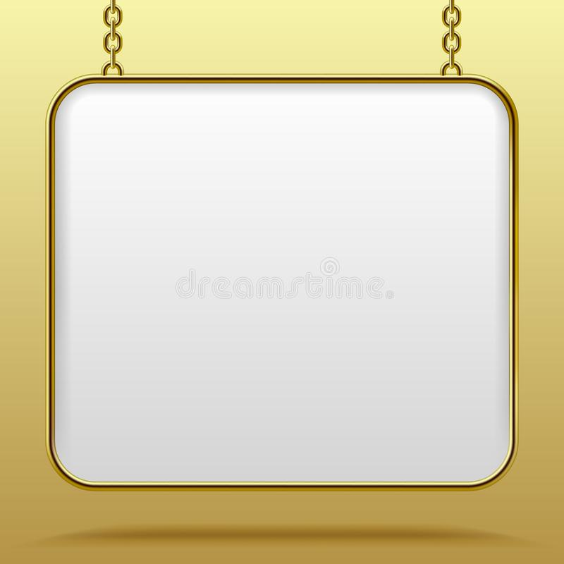 White sign in gold frame hanging from a chain against a yellow b vector illustration