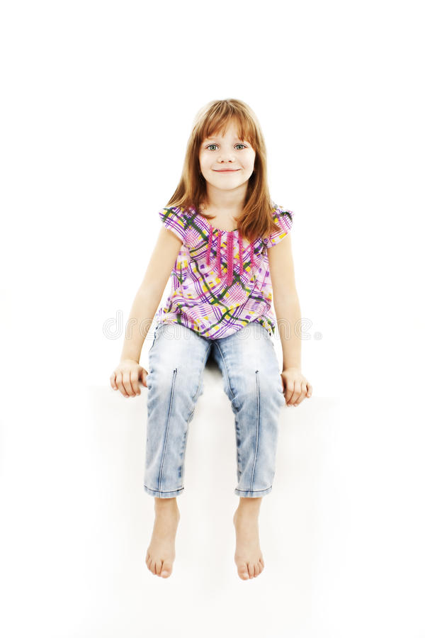 White sign little girl sitting on billboard royalty free stock photos