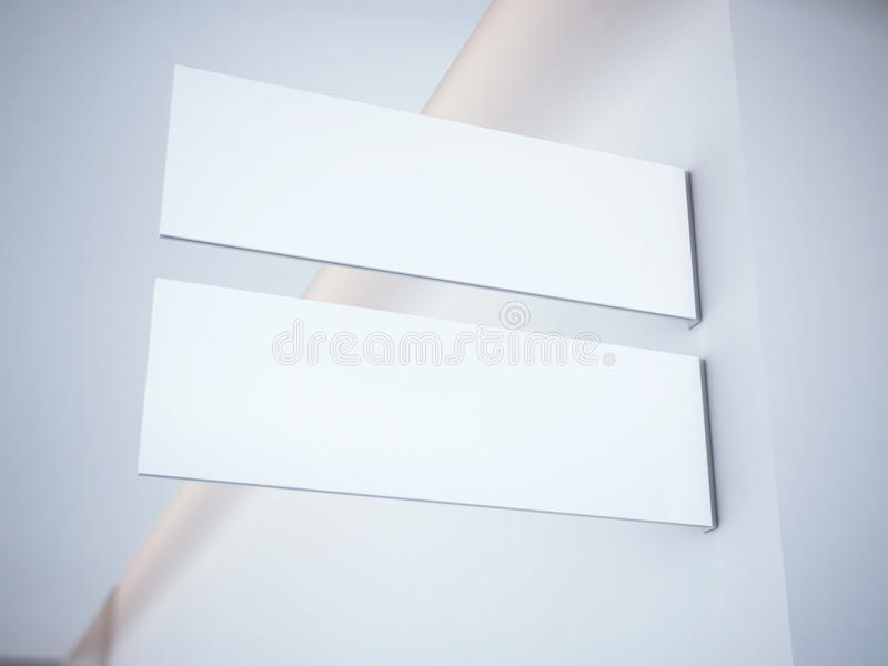 White signboard in the office interior. 3d rendering royalty free stock photo