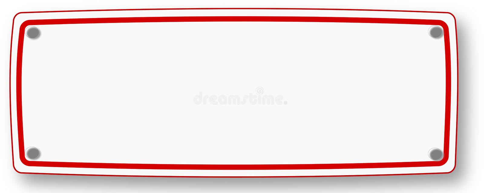 White signboard with red frame. White empty signboard with red frame and shadow with nails to be used for your own label vector illustration