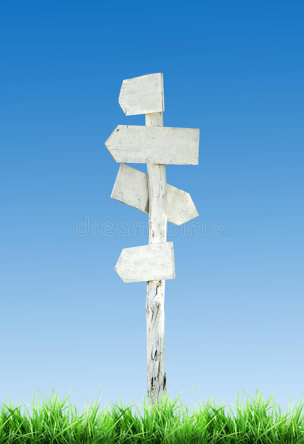 White signpost royalty free stock photography