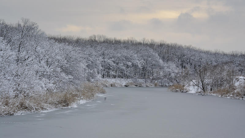 The white silence. Beautiful winters morning landscape with the river royalty free stock photos