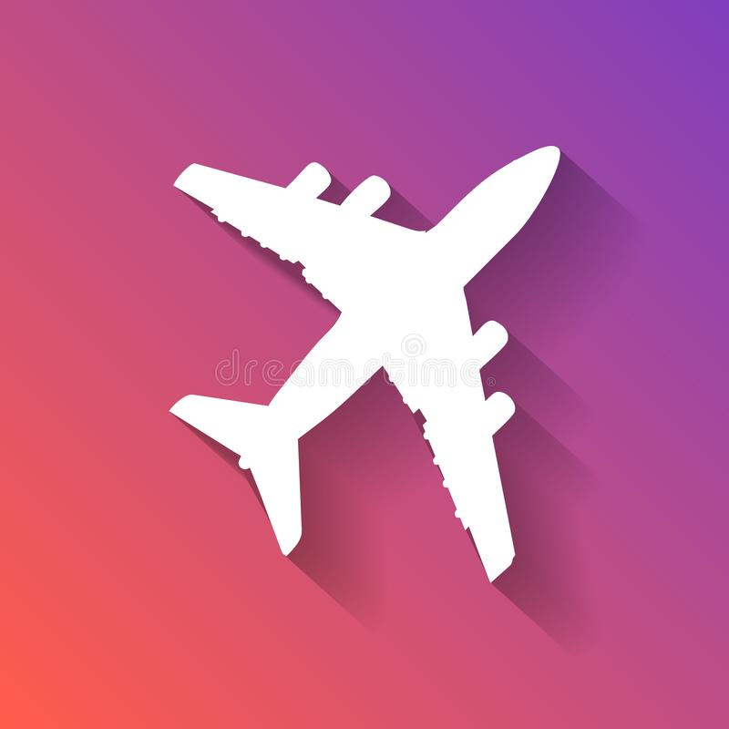 White silhouette of airplane pictogram with flat shadow on colo. Rful gradient sunset background stock illustration