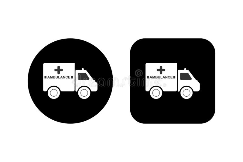 car with an inscription ambulance on a square and round black background royalty free illustration