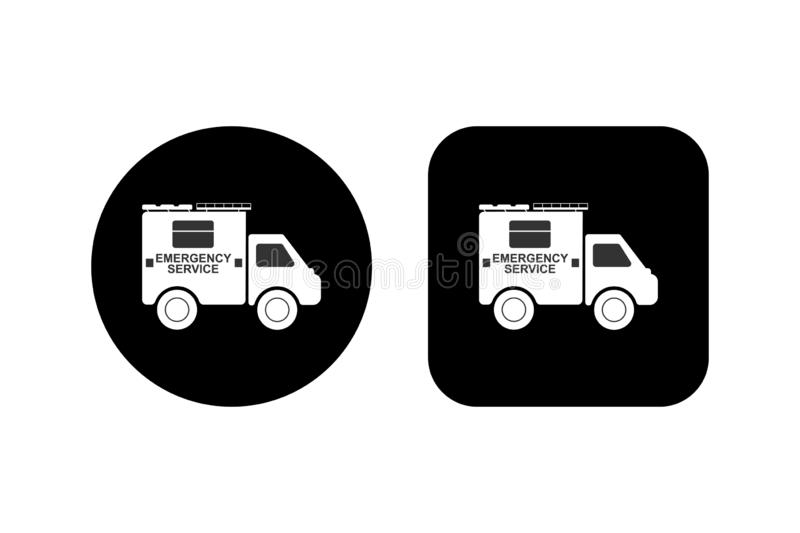 Car with the inscription Emergency Service on a square and round black background royalty free illustration