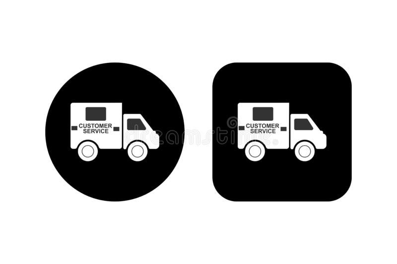 Car with the words Service Service on a square and round black background vector illustration