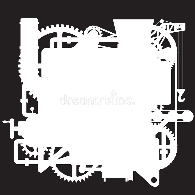 White silhouette of the complex fantastic machine on black stock illustration