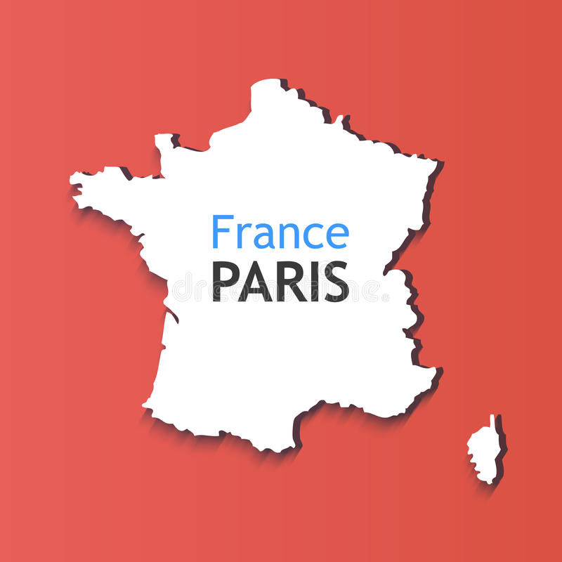 White Silhouette of France. Caption on Contour of Map - France, Paris. Symbol on red background vector illustration