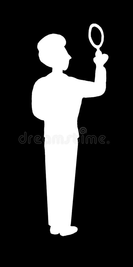 White silhouette isolated young business man detective seeker with magnifying glass in black background. Seach answer, riddles, stock illustration