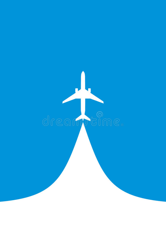 White silhouette of jet airplane vector illustration