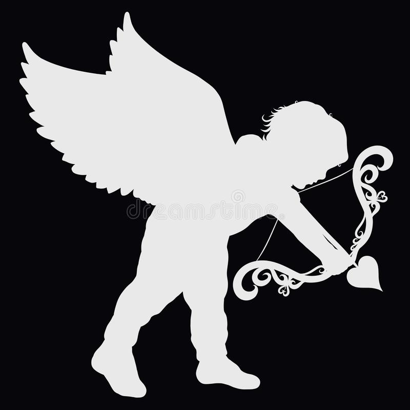 Free White Silhouette Of A Small Cherub With A Patterned Bow And Hear Stock Photo - 125986090