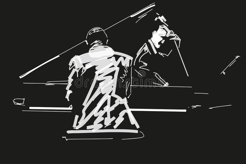White silhouette of pianist and bass player on black background. stock photo