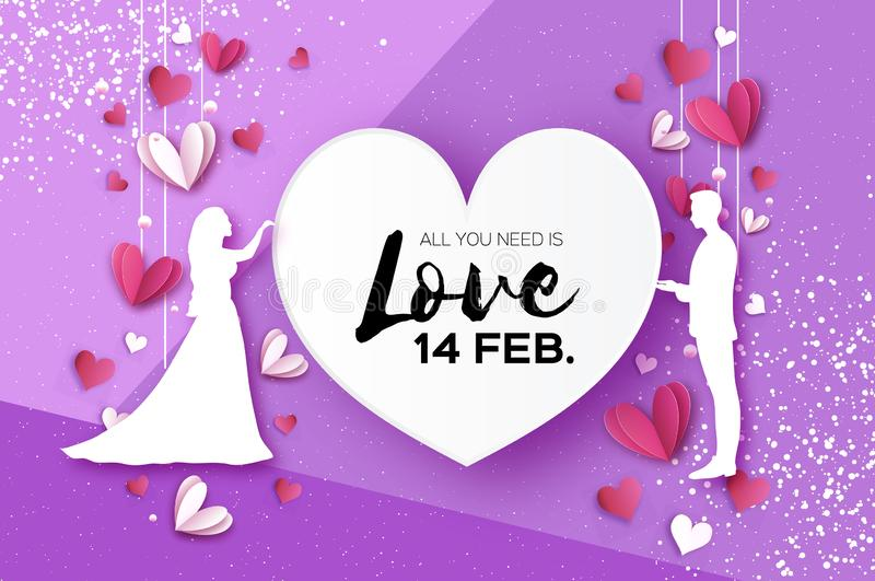 White silhouette of romantic lovers. Fall in Love. Paper Hearts. paper cut style. Happy Valentine day. Romantic Holidays stock illustration