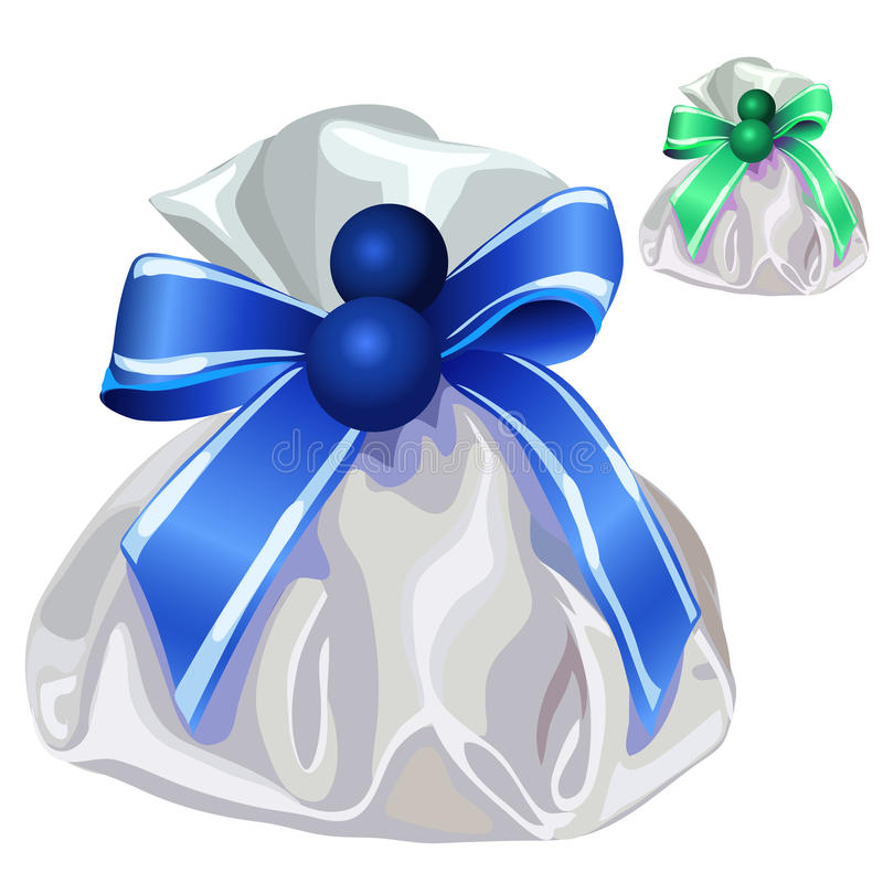 White silk bag for gifts with blue bow. Vector. Illustration on white background stock illustration
