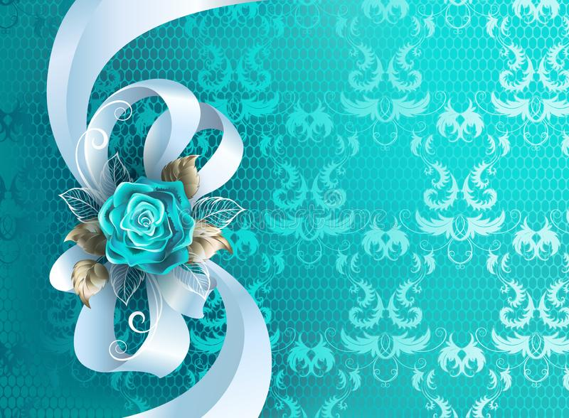 White silk bow on blue background. White silk bow decorated with turquoise rose with leaves of white gold on turquoise, lace background vector illustration