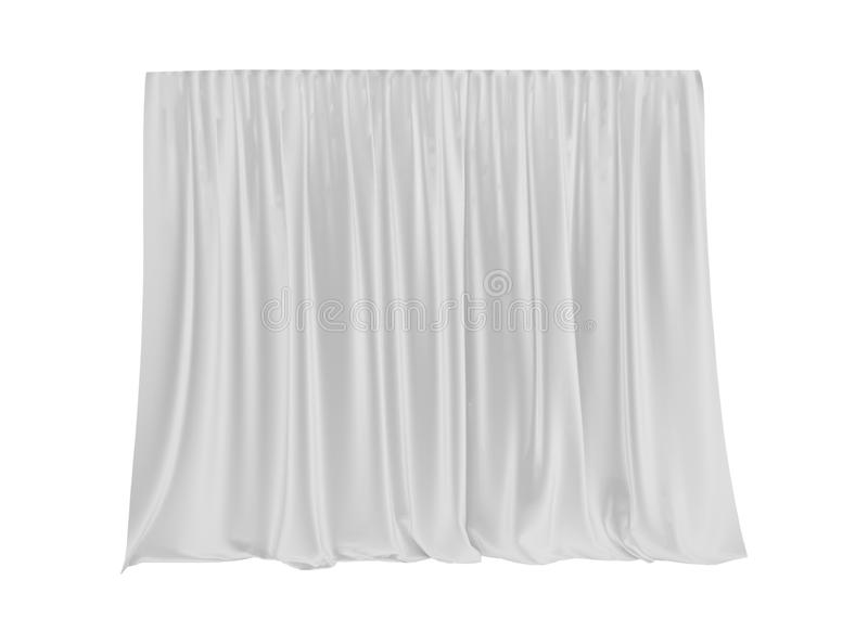 White silk curtain isolated on white background. 3d render. stock illustration