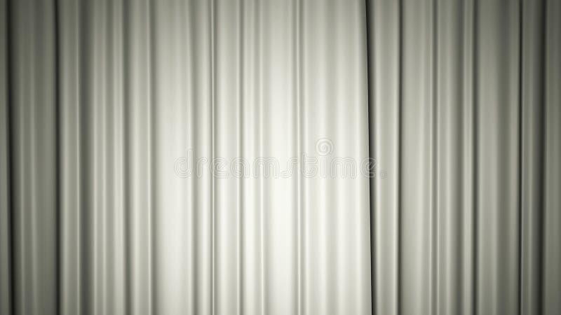 White silk curtain on stage. 3D illustration. White silk curtain on stage. Bright 3D illustration vector illustration