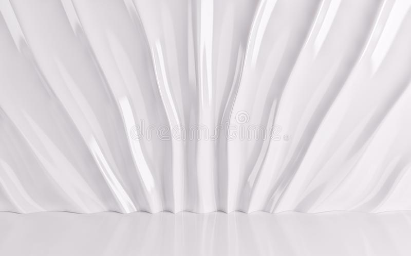 White silk drapery and fabric on the floor. 3d render. Ing royalty free illustration
