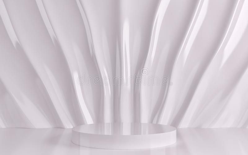 White silk drapery and fabric on the wall. 3d render. Ing vector illustration