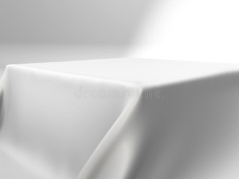 White silk elegance tablecloth. Trade show exhibition. Design element for background. 3d render illustration stock illustration