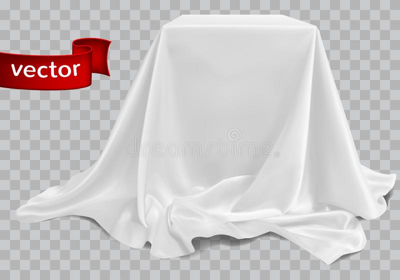 White silk fabric covering the podium. Beautiful drape. Highly r stock illustration