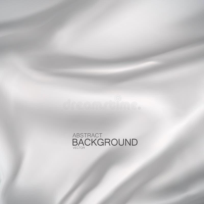 White silk fabric. Vector illustration of white satin or silk fabric. Vector silk textile. Wavy cloth. Decoration element for design vector illustration