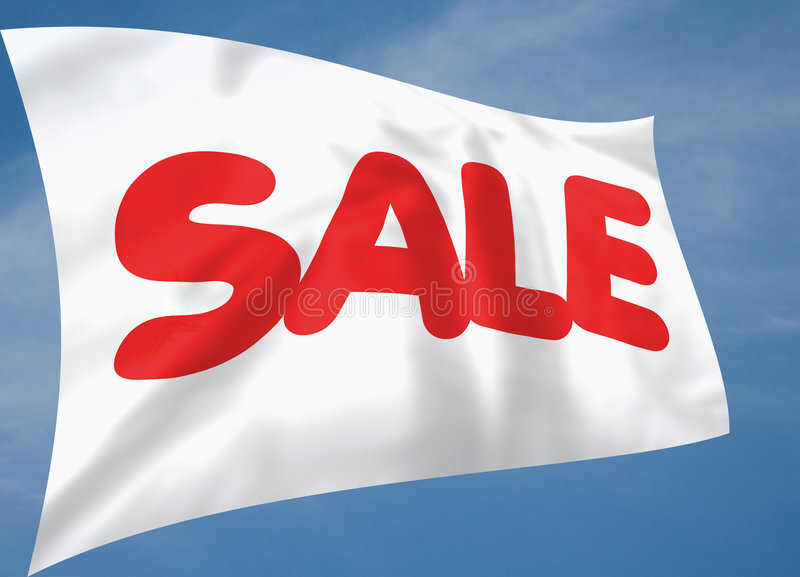 White silk sale flag with blue sky background. (illustration royalty free illustration