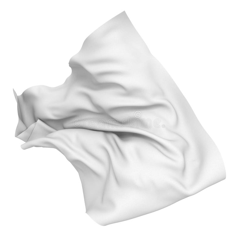 White silk satin cloth. Design element. 3d render illustration stock illustration