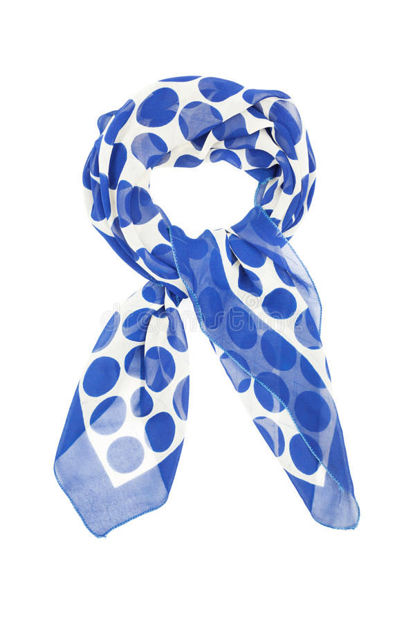 White silk scarf in blue circle. Isolated on white background vector illustration