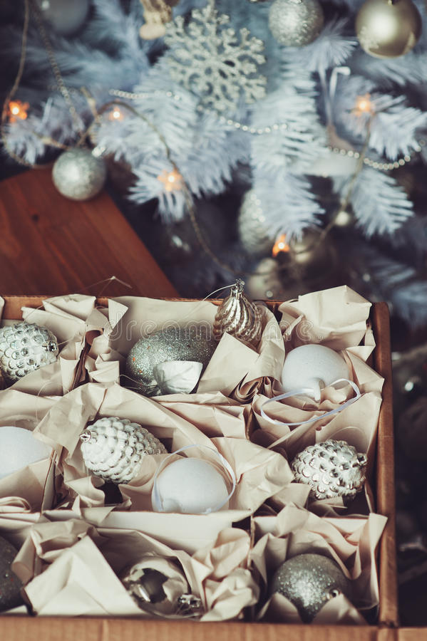 White And Silver Shiny Stylish Christmas Decorations In ...
