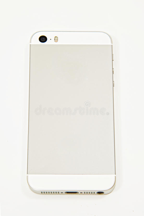 White and Silver Smartphone Back on White stock photos