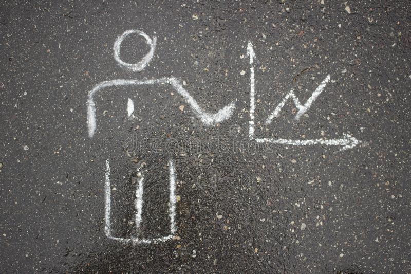 White simple business drawing on asphalt chalk royalty free stock photography