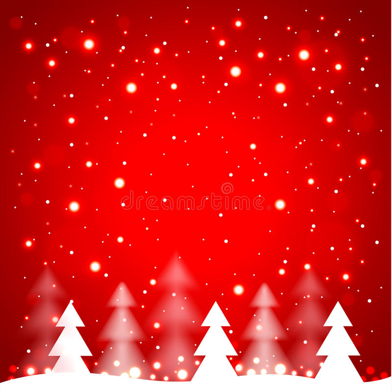 White Simple Christmas Trees On Red Background Stock ...