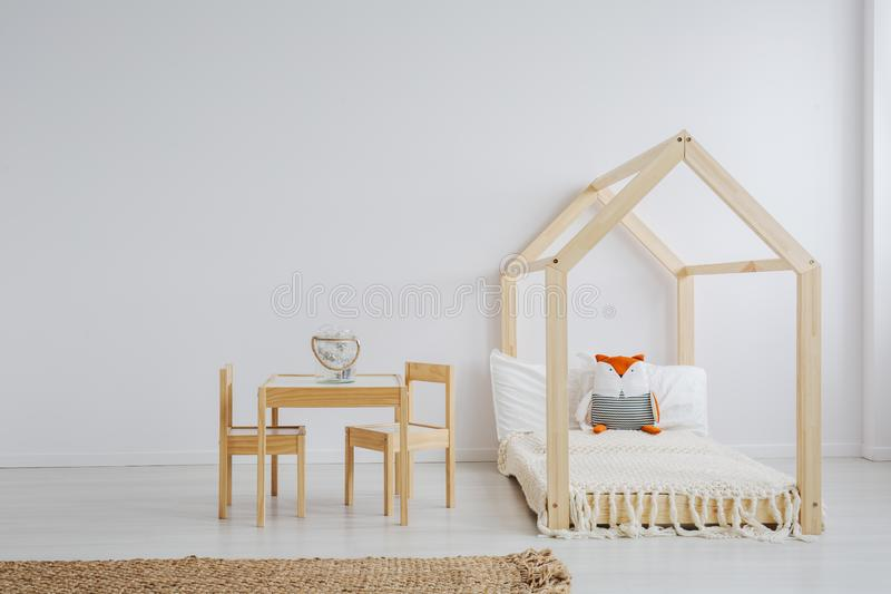 White, simple kid room stock image
