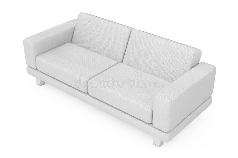 White Simple Modern Sofa Furniture. 3d Rendering. White Simple Modern Sofa Furniture on a white background. 3d Rendering stock illustration