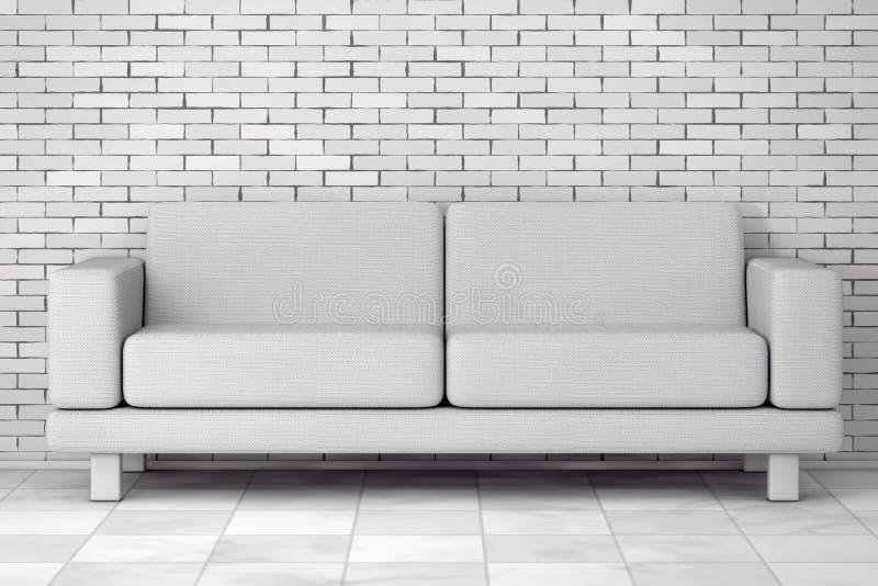 White Simple Modern Sofa Furniture. 3d Rendering. White Simple Modern Sofa Furniture in front of brick wall. 3d Rendering vector illustration